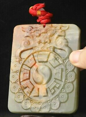 Chinese old natural hetian jade hand-carved double dragon pendant 3.7 inch