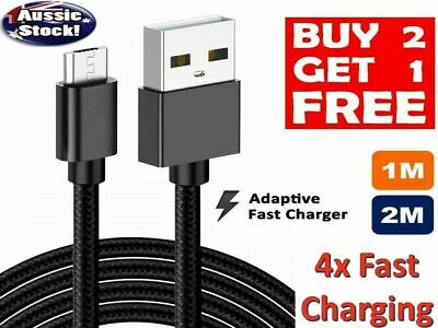 OEM Braided Micro USB Charger Cable FAST Charge 4 Mobile Android Samsung LG G4 3