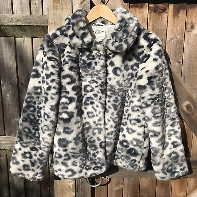 M&S Kids Girls Grey Mix Faux Fur Leopard Print Jacket Coat Age 13 - 14 BNWOT