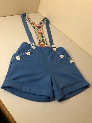 Little Bird By Jools Oliver Mothercare Dungaree Shorts Blue 7-8 Unisex Boys girl