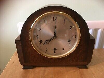 Vintage Smiths Enfield Windup Wooden West Minister Chiming Mantle Clock