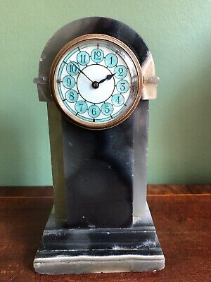 Art Deco Agate Guilloche Dial Desk Clock Blue Streaked Grey Vein Antique Mantel