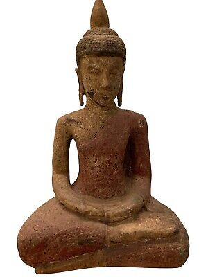 Antique Khmer Style SE Asia Wood Meditation Buddha Statue - 56cm/22""