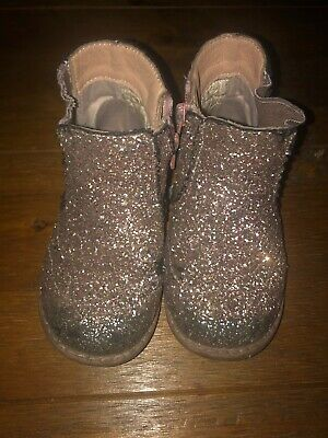 Matalan Girls Pink Glitter Ankle Boots, Zip Fastening. Infant Size 7, RRP £15