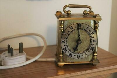 Vintage Smiths Small Brass Electric Mantel Clock Working Order 1950s