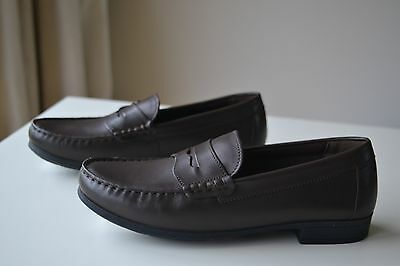 NEW Marks & Spencer Boys BROWN LEATHER LOAFERS SHOES  Size UK 4 / 37  £32