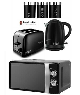 Russell Hobbs Dorchester Kettle and Toaster with Microwave & Canisters - Black