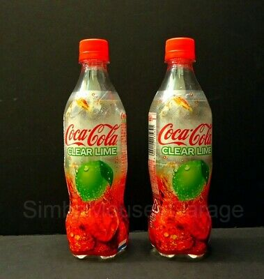 2 New Unopened 500ml COCA COLA CLEAR LIME Soda Bottles Limited Edition Japan
