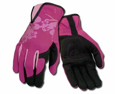 Ansell 97-981 Premium Womens Pink / Black Syn Leather Palm Gardening Work Gloves
