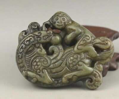 Chinese old natural jade hand-carved dragon and monkey pendant 2.4 inch