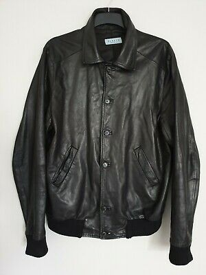 BLAKES Mens Real Soft Leather Jacket Black Harrington Bomber Slimfit Size L/ XXL