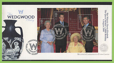 G.B. 2000 Queen Mother m/s on Millennium Covers Ltd. First Day Cover, Wedgwood