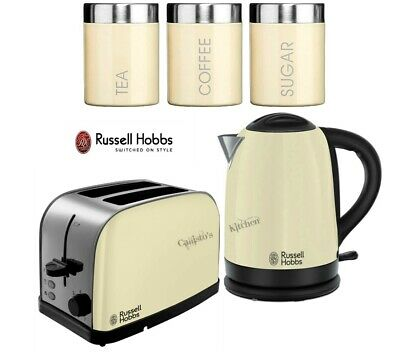 Russell Hobbs Dorchester Kettle and Toaster with 3-Piece Canisters Set - Cream