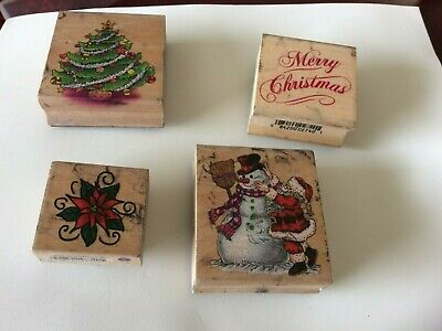 mounted rubber stamps set of 4 Christmas card making