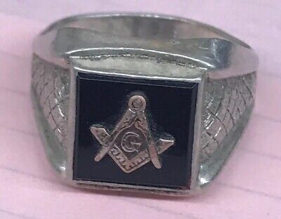 Masonic Sterling Silver Ring Size 10 1/2 Used