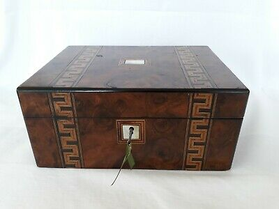 Antique Inlaid Marquetry Burr Walnut Ladies Writing Slope W/ MOP & Lock & Key