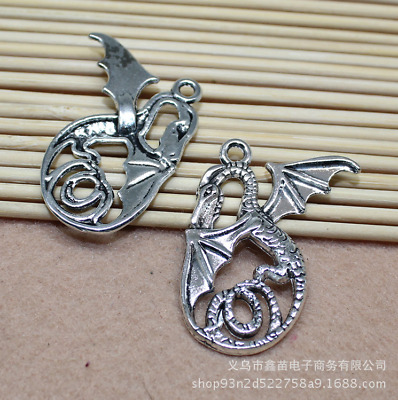 Free Shipping 5pcs 41x37mm Ancient silver Exquisite fly dragon Charm Pendan