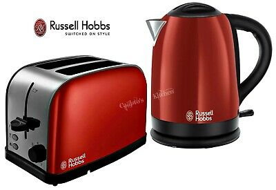 Russell Hobbs Dorchester Kettle and Toaster Red Kettle & 2-Slot Toaster - New