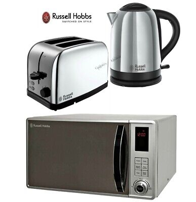 Russell Hobbs Dorchester Kettle and Toaster Set with Microwave - Silver