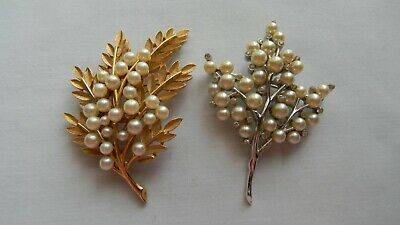 Vtg. Crown Trifari Brooch/Pin (2) 1 Gold-Tone/1 Silver-Tone-Faux Pearl-Nice!!