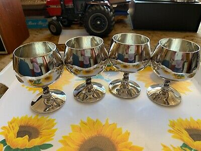 Four Falstaff Silver Plated Brandy Goblets Spanish c 1965