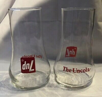 Vintage Set of 2 1970s 7Up Uncola Drinking Glasses Soda Pop