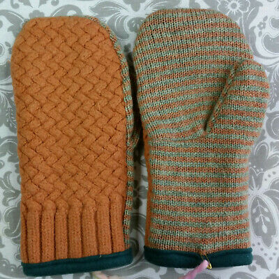 Women's Handmade Recycled Wool Sweater Fleece Lined Mittens Large Extra Large XL
