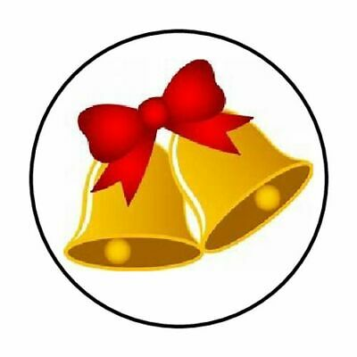 "48 Christmas Bells Bow Envelope Seals Labels Stickers 1.2"" Round"