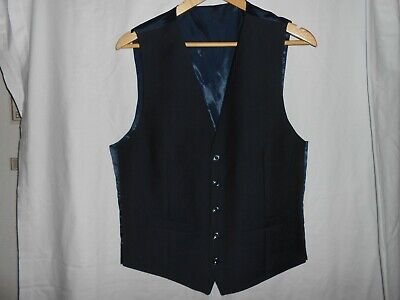 "M&S Savile Row Inspired / Alfred Brown T/Fit Waistcoat Navy Uk M. 38-40"" New"