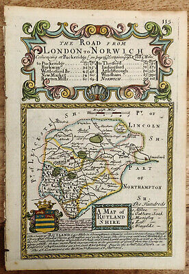 Thomas Bowles 1720 hand coloured antique map of Rutlandshire England