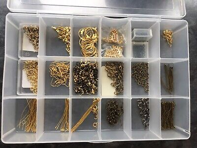 Box Of Gold Plated And Pewter Coloured Jewellery Making Findings