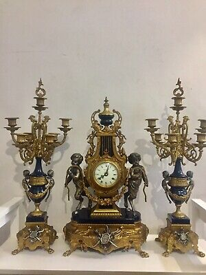Huge Vintage Imperial Clock Set Garniture