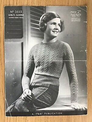 A Vintage Patons & Baldwins' Knitting Pattern - Girl's Jumper - ? 1930s