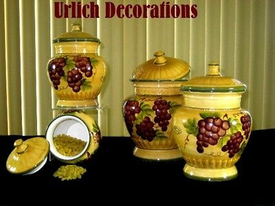 CERAMIC GRAPES KITCHEN Decor Purple With Metal Leaves SET OF ...