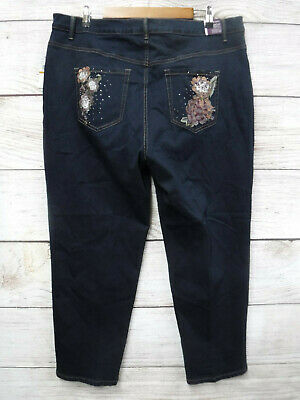 Gloria Vanderbilt Stretch Jeans Womens 18WS Amanda Slimming Floral Pocket New