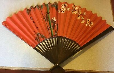Vintage Hand Fan Paper and Wood Hand-Painted Floral China or Japan