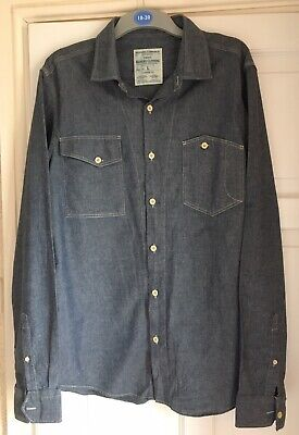 MENS NEXT LONG SLEEVED BLUE CHAMBRAY SLIM FIT COTTON SHIRT – SIZE L  (denim look