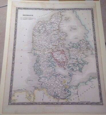 Genuine Large Antique Map 1840s Denmark Teesdale Dower Hand Coloured