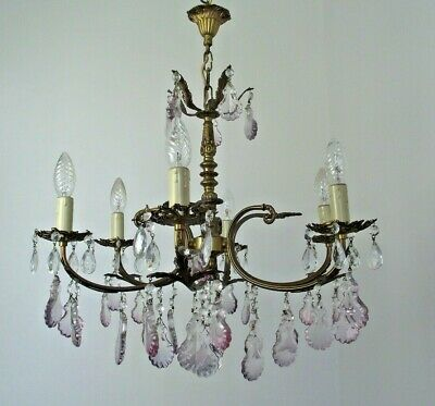 French Vintage 6 Arm Bronze Chandelier Adorned With Purple & Clear Crystals 807