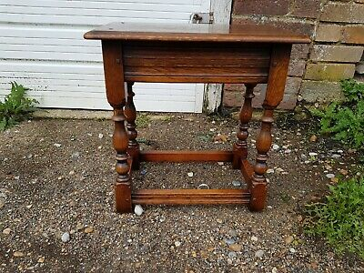 Antique English Carved Oak Pegged Joint Foot Stool Bench