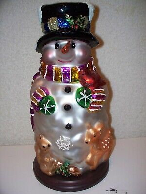 Thomas Pacconi Glass Snowman 2004 30 Year Anniversary Christmas Figure Statue