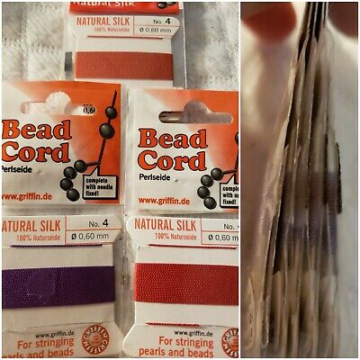 5 packages of Griffin Silk Beading Thread Beads & Pearls mixed  No. 4. .60mm
