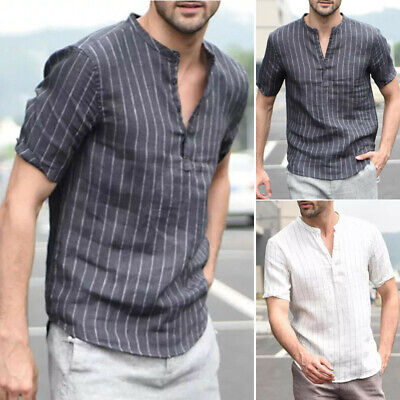Mens Tops Male Regular Fit Fashion T Shirts Stand Collar Stylish Basic Tee