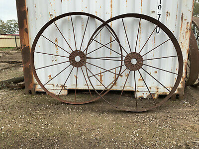 Antique Farm Implement Wheels, all steel, cast centre, from horse drawn cart