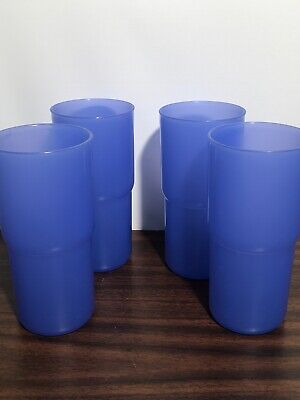 TUPPERWARE SET 4 18oz Stackable Tabletop Tumblers #2413 BLUE Great Condition!