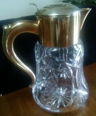 Grandmas 1930's Art Deco Cut Lead Crystal Pitcher- Marked Silver Plated Germany