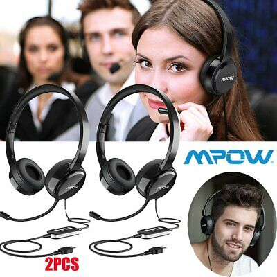 Mpow USB Wired Headset 3.5mm Computer PC Headphone Noise Cancelling Stereo Mic