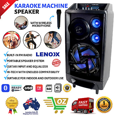 Portable Karaoke Machine Recharge Speaker System FM Radio Wireless Microphone