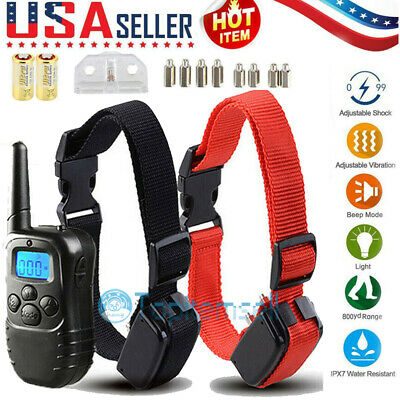 Dog Shock Collar w/LCD Remote Waterproof For Large Small Pet Training 875 Yards