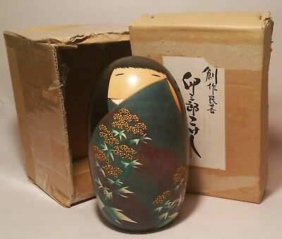 KOKESHI w/ box vtg japanese wooden egg doll geisha girl toy art signed painted